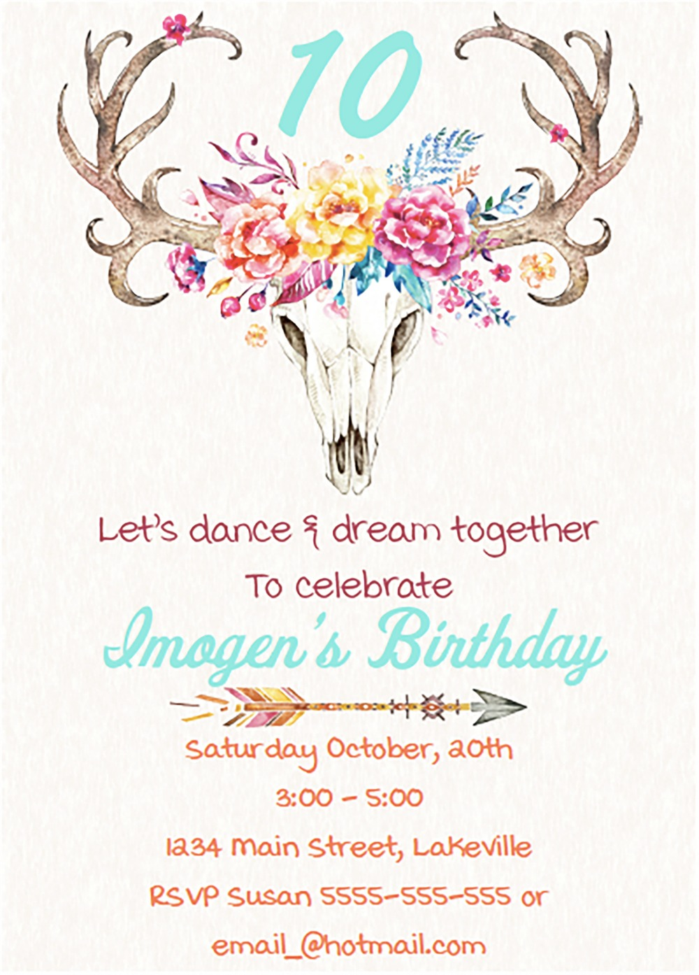 image for Boho Girls Party Invitation
