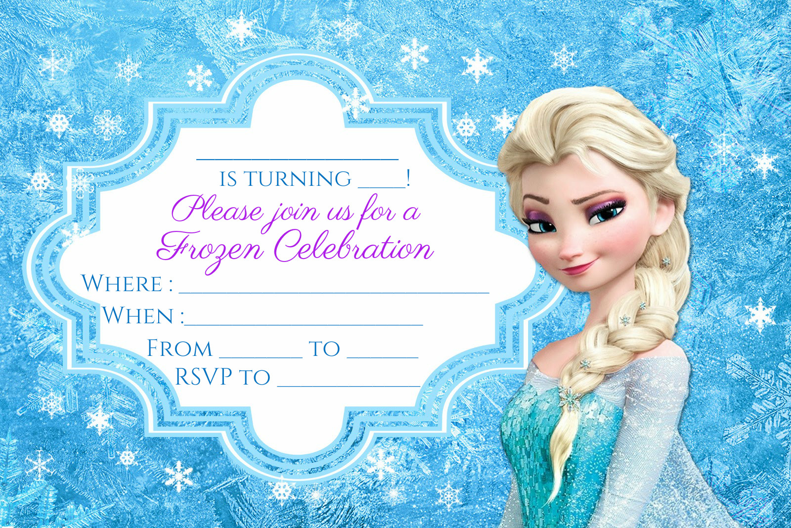 Wonderful FREE Frozen Party Invitation Instant Download | Encore Kids Parties YW85