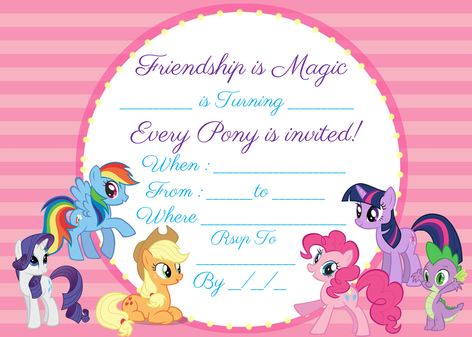 my little pony invitation free instant download encore kids parties