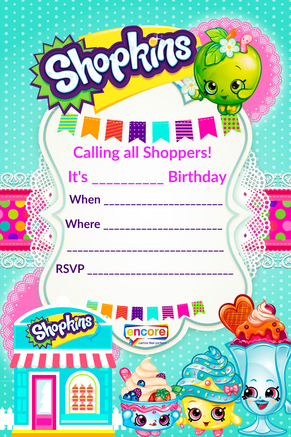 Shopkins Party Invite Download FREE Encore Kids Parties - Birthday invitation images download
