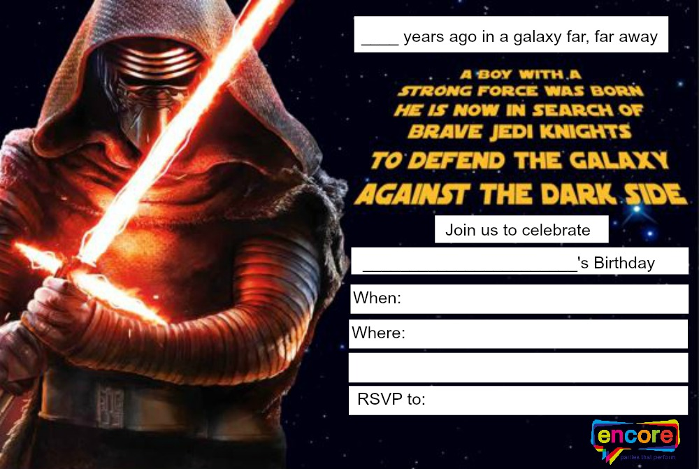 Star Wars Party Invitation Free Perth Jedi
