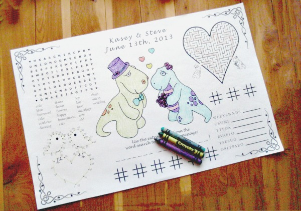 Colouring in activity placemats for kids printable diy