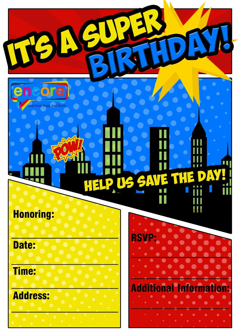 Kids Party Invitations | Encore Kids Parties
