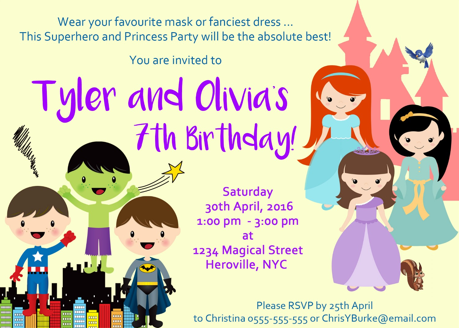 image for Superhero & Princess Party Invitation