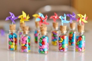 Candy Pin Wheel bottles, candy party craft, cookies and candy craft activity